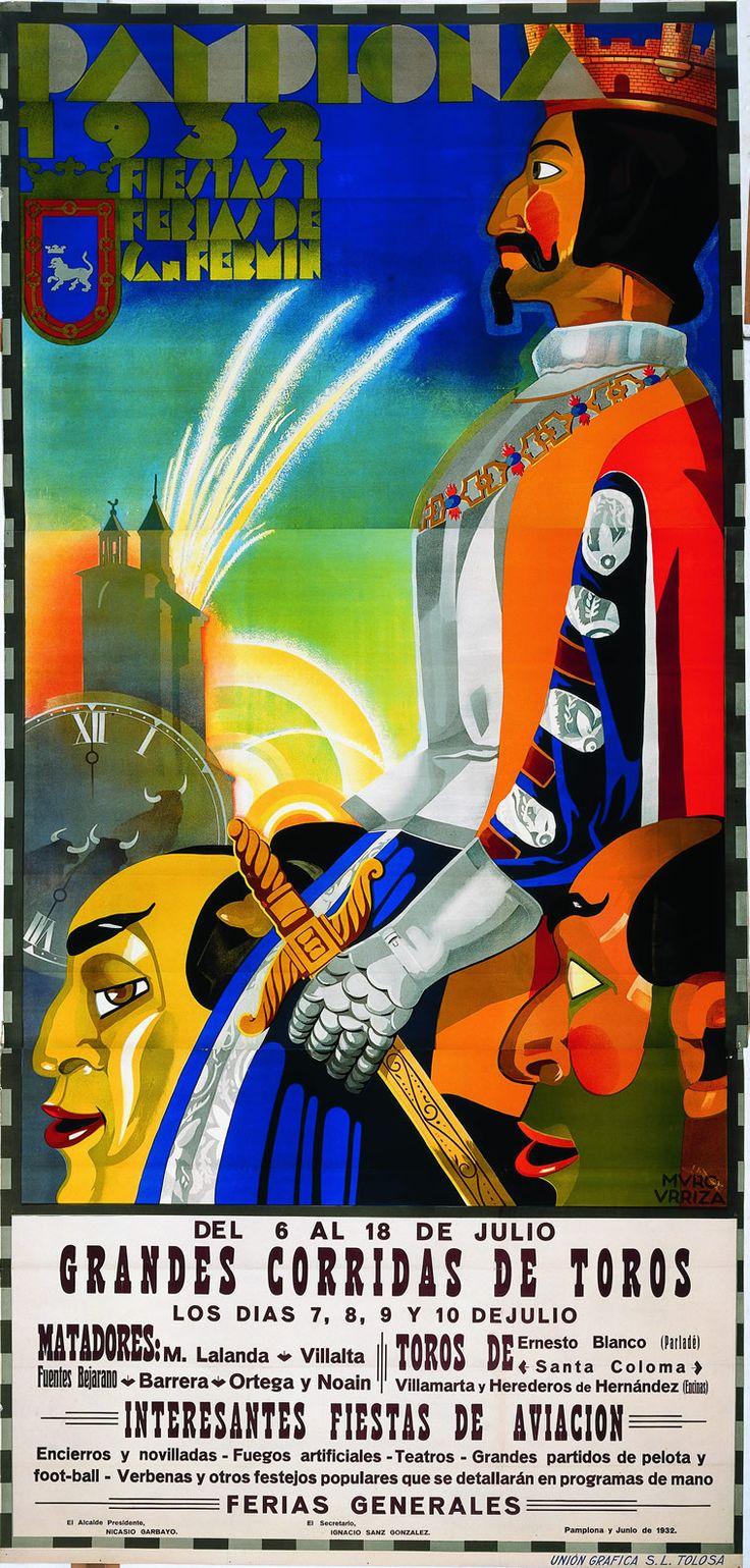 Cartel de los Sanfermines de 1932 - Fiestas y ferias de San Fermín, Pamplona :: Autor: Leocadio Muro Urriza #Pamplona