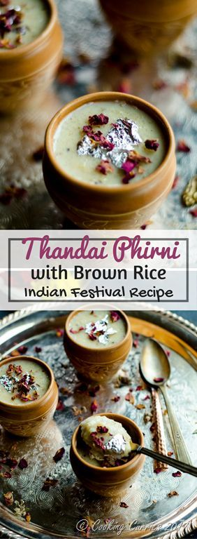 Thandai Phirni with Brown Rice - for Holi  A delicious rice pudding delicately spiced with Thandai Masala to create a special treat for this Holi. And the bonus is that this phirni is made with brown basmati rice!