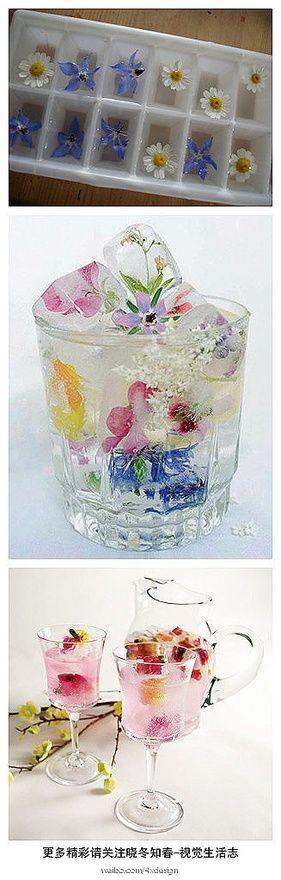 cubitos de hielo con flores