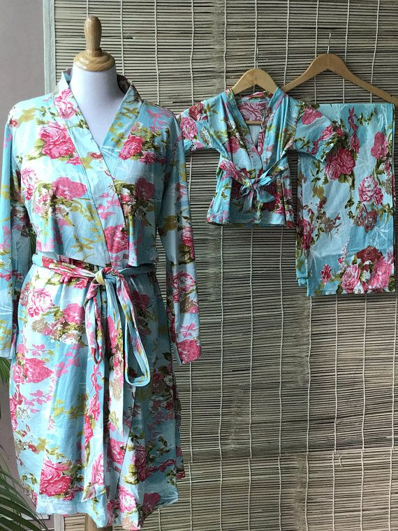 Stretch cotton Blue Floral maternity robe for delivery, feeding, child birth, pregnancy and labor, baby shower gift, wrap around robe
