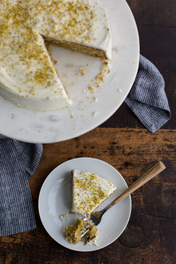 Pistachio Olive Oil Cake made with no refined sugar
