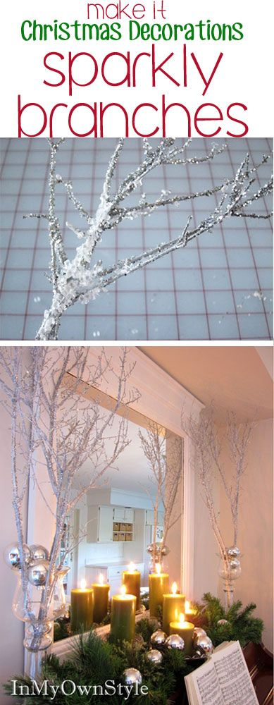Make these sparkly tree branches to decorate your house for Christmas. An easy DIY Christmas Decoration under $10.