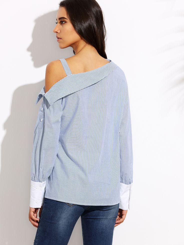 Blue Striped Fold Over Asymmetric Shoulder Contrast Cuff Blouse