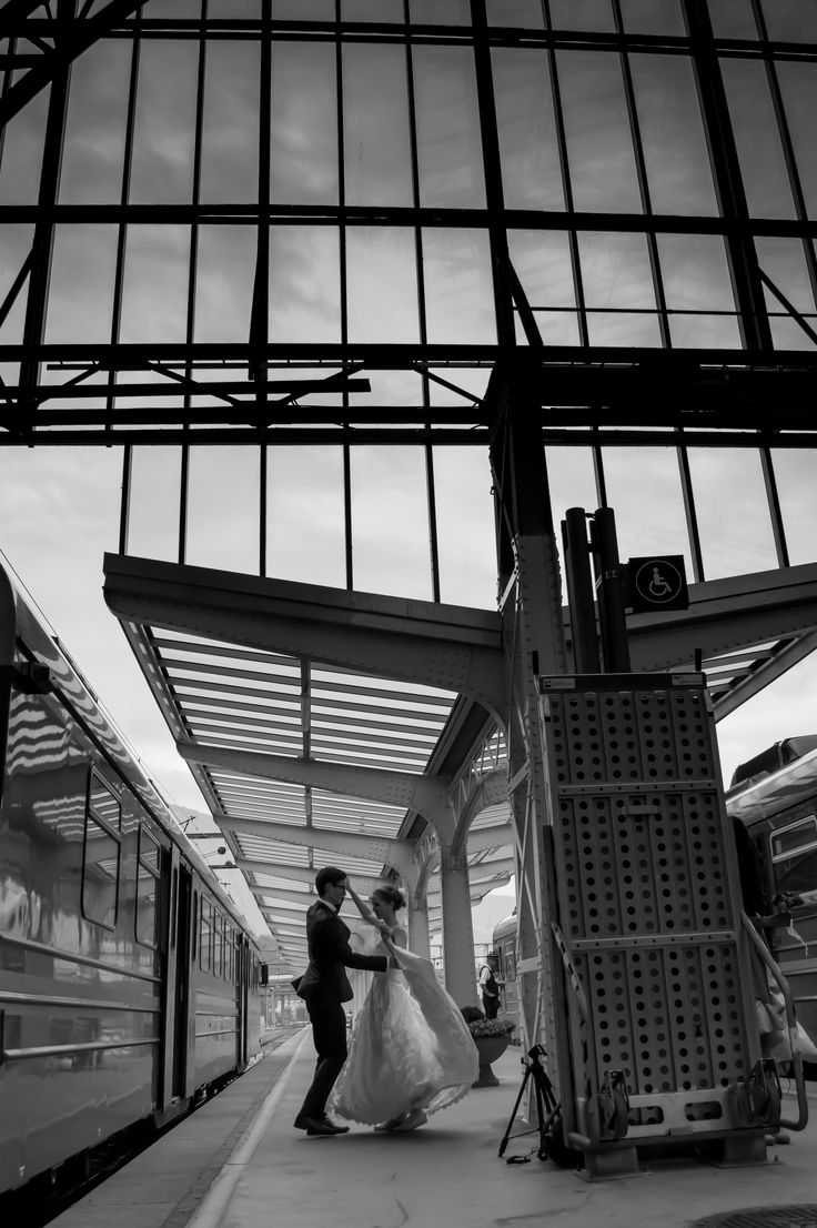 Bride and groom dancing - Train station in Bergen, Norway