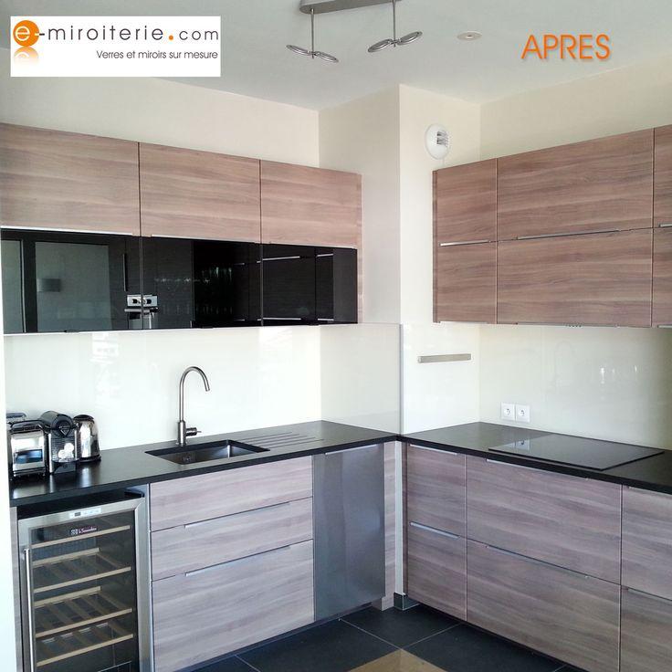 credence en verre laqu blanc perle sur mesure cuisine pinterest blog. Black Bedroom Furniture Sets. Home Design Ideas