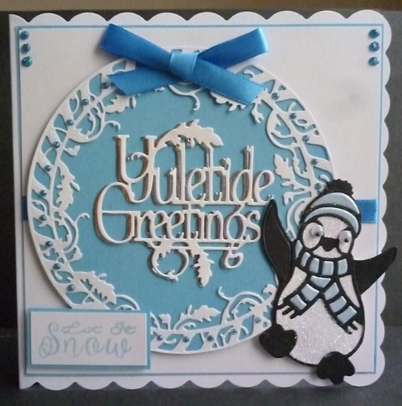 Card made using the Tonic rococo xmas dies and Yuletide greetings die set