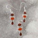 925 Sterling Silver Aventurine Hessonite Stone Jewelry Set Women Fashion Jewelry