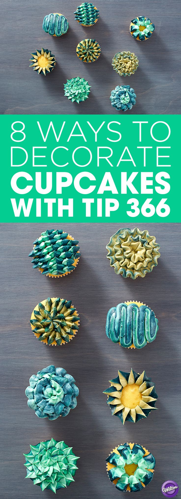 8 Ways to Decorate Cupcakes with Wilton Tip 366 - Learn different ways to use leaf decorating tip 366 and create eight unique designs. A fun idea for parties and for decorators looking to fine-tune their piping skills, these fun cupcake designs can also be made using any icing color combination you'd like.