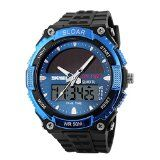 UniqueBella Fashion Sport Mens Solar Powered Analogue  Digital Dual Time Dispaly Wrist Watch Blue- http://www.siboom.co.uk/compare-prices-compare-prices-jewellery-watches_c109814.html.html?catt=compare-prices-jewellery-watches&k=Fashion+men+watches&ppa=3 Solar powered sports watch  Super cool analogdigital design  Hour minute second and week display  Dual time zones alarm clock stopwatch EL backlight  Equipped with adjustable buckle design  Description Solar power long en