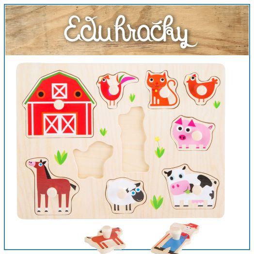 Drevené puzzle s úchytkami sú hračky určené pre deti od cca 1 roka a podporuje jeho zručnosti ako je jemná motorika, manuálnu zručnosť, logické myslenie a cit pre tvar predmetu. Roztomilý motív domácich zvieratiek z farmy