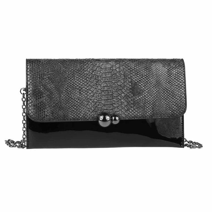 DAMEN ABENDTASCHE CLUTCH POCHETTE Umschlag-Tasche Reptilprägung Kettentasche Unterarmtasche Handtasche Schultertasche Umhängetasche Grau