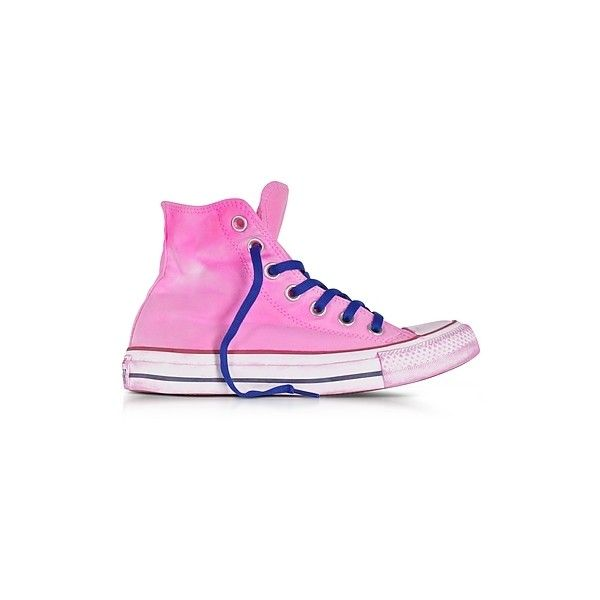 Converse Limited Edition Shoes Chuck Taylor All Star Hi Neon Fuchsia... (1,055 HKD) ❤ liked on Polyvore featuring shoes, sneakers, fuchsia, canvas shoes, neon high top sneakers, canvas lace up shoes, high top shoes and star sneakers