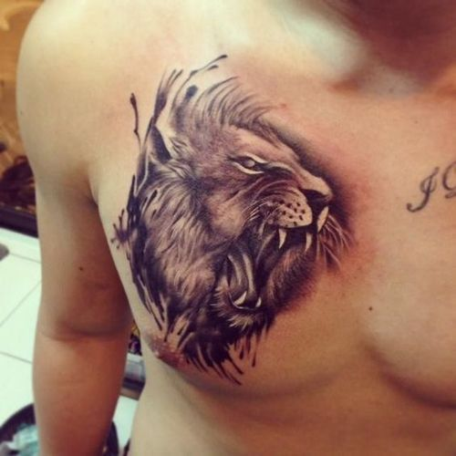 Roaring Lion With Watercolor Hair