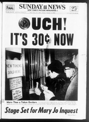 New York Daily News newspaper from Jan. 4, 1970 announces 100 percent hike in subway fare from 15 cents to 30 cents.