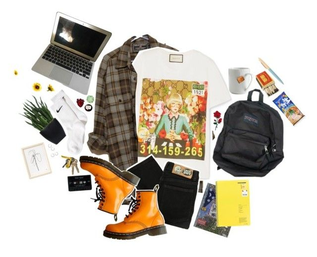 """""""skipping class"""" by silence-d ❤ liked on Polyvore featuring NIKE, Gucci, Cheap Monday, Dr. Martens, Apple, Lux-Art Silks, Topshop, le mouton noir & co. and Kikkerland"""
