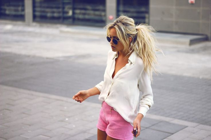 relaxed.Pink Shorts, Fashion, Messy Ponytail, Messy Hair, Style, White Shirts, Outfit, Messy Ponies, White Blouses