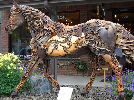 Scrap iron horse (I think it looks steampunked), by John Lopez.