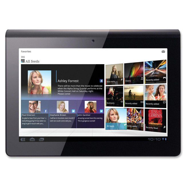"Sony Tablet streams millions of songs, downloads the latest movies from Sony Entertainment Network, is a PlayStation certified device and acts as your universal remote control all on a fluid 9.4"" touch screen with 1280 x 800 resolution and vibrant TruBlack display. The comfortable design fits easily in your hand. Wi-Fi ready (802.11a/b/g/n) tablet is also equipped with an Android operating system, Bluetooth connectivity (2.1plus EDR), IR support, RAM memory of 1 GB and a storage capacity of…"