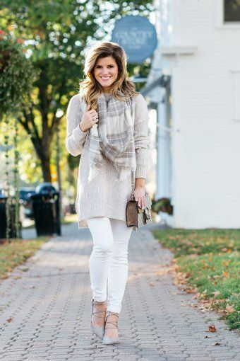 fall white jeans outfit, ribbed oatmeal colored tunic sweater, plaid scarf, lace up sam edelman heels, winter white jeans outfit, dressy tunic sweater look