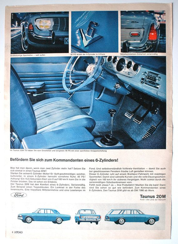 Original 60's Vintage German Ad Ford Taunus 20 by VintageWorldAds