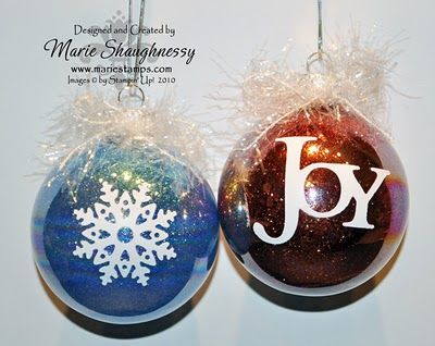 Christmas Ornament idea --use Mop-n-glow drops inside to get the glitter to stick and vinyl cut outs.