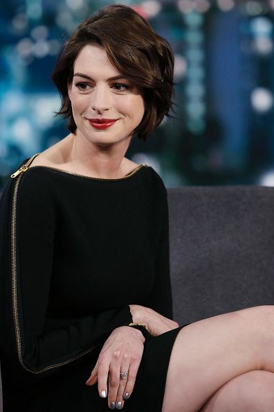 Anne Hathaway is seen on 'Jimmy Kimmel Live' on January 05, 2015 in Los Angeles, California.