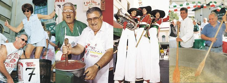 Italian Festival Photo Collage of Lady Grape Stomping, 2 Older Italian Men stirring pasta, 3 Men on Stilts and Gregg Carano Stirring Risotto