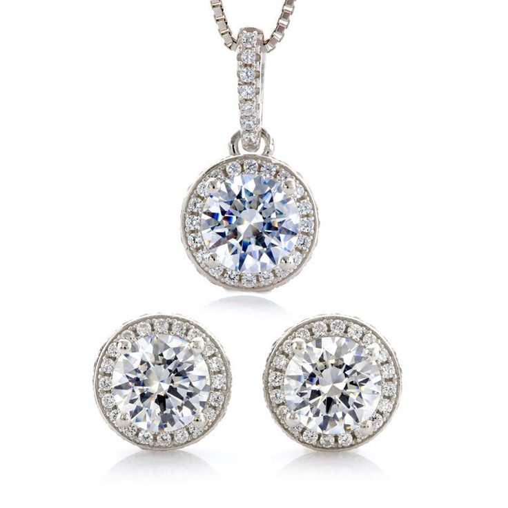 Halo Pendant & Earrings Set