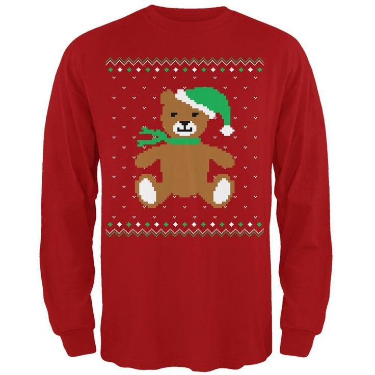 Ugly Christmas Sweater Big Teddy Bear Red Adult Long Sleeve T-Shirt
