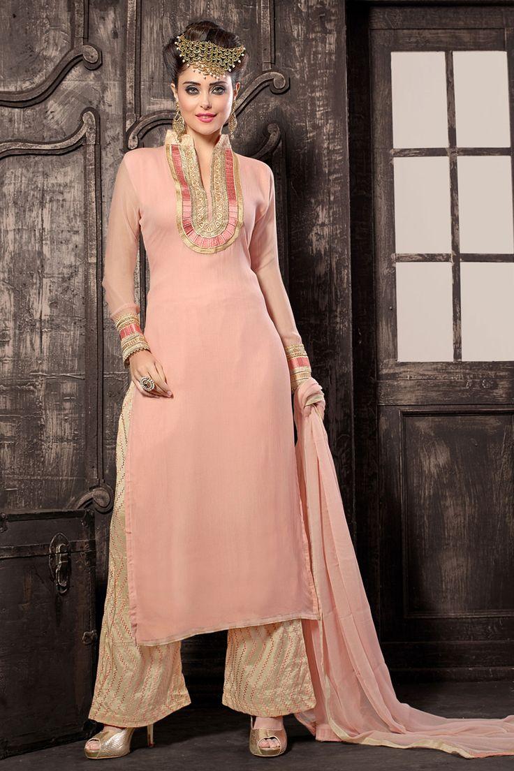 Peach designer salwar kameez online from Easysarees