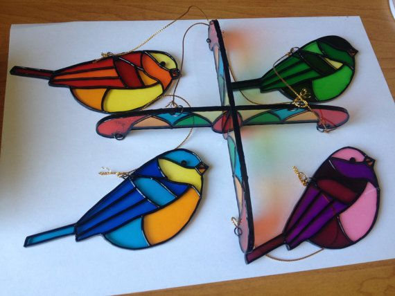 Birds Stained Glass Suncatcher Painted on by StainedGlassItems