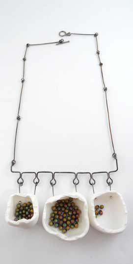 Céline Charuau. Necklace. Polymer clay, sterling silver, Miyuki beads.