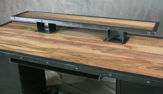 Industrial Desk With Riser Storage Bases Executive Desk Walnut