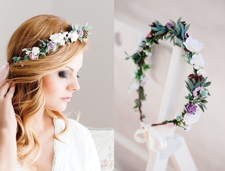 Braut Blumenkranz Hochzeit Haarband Blumen Haarschmuck Elfenkrone Boho Hippie Ko… – Blumenkranz Haare
