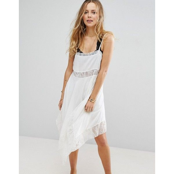 Free People Trapeze Asymmetric Hem Lace Dress (49 AUD) ❤ liked on Polyvore featuring dresses, cream, print maxi dress, cream maxi dresses, bohemian lace dress, maxi dresses and jersey maxi dress