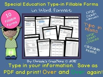 Special Education IEP data Tracking forms and more