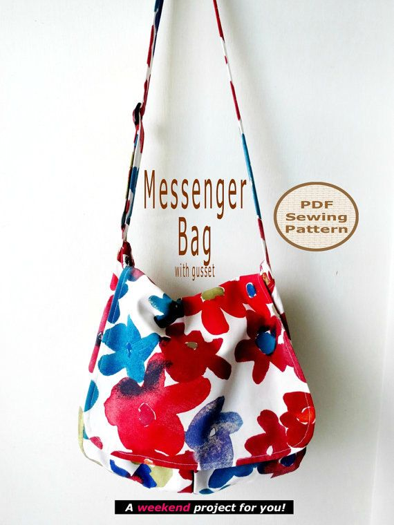Messenger Bag with Gusset - PDF Bag Sewing Pattern And Tutorial - by Projects By Jane via Etsy