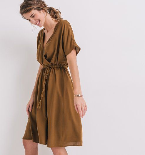 Robe cache-coeur Femme bronze - Promod