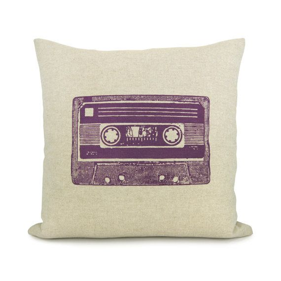 Cassette tape pillow case, Retro home decor, Industrial - Purple cassette mix tape print on natural beige canvas pillow cover in 16x16