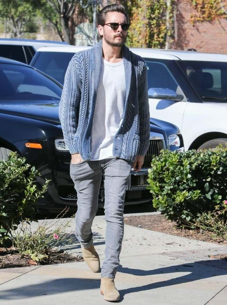 SCOTT DISICK ROCKS DENIM & SUPPLY CARDIGAN, SAINT LAURENT JEANS AND BOOTS…
