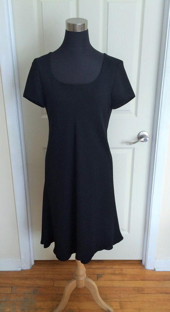 Vintage Black Short Sleeve Double Layered Flared Chiffon Dress