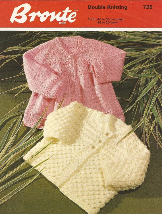 Baby Dk 8ply Matinee Jackets 2 styles 16 - 20 ins - Bronte 735 - PDF of Vintage Knitting Patterns