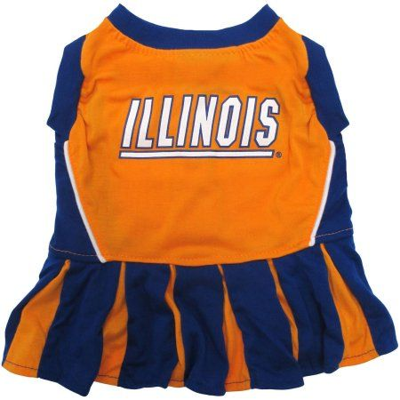 Pets First College Illinois Fighting Illini Cheerleader, 3 Sizes Pet Dress Available. Licensed Dog Outfit