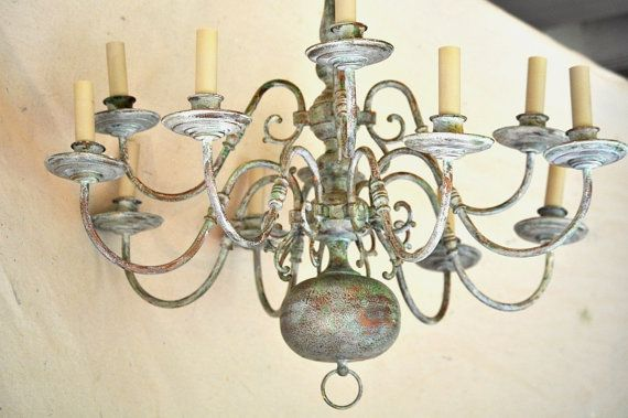 Antiqued Painted Chandelier/ Aged Copper 12 Arm by TheVelvetBranch, $295.00