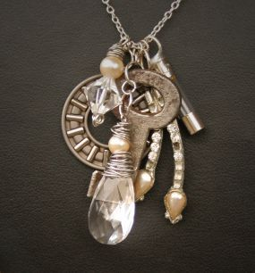Romantic junk jewelry -  key, gear, fuse, chandelier crystal , a little silver bearing and rhinestone.