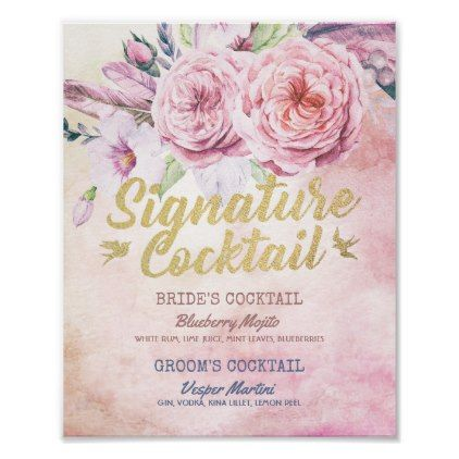 Wedding Signature Cocktail Drink Menu Boho Floral Poster - script gifts template templates diy customize personalize special