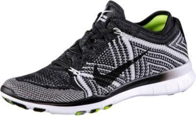 #Nike #Free #Trainer #Flyknit #Fitnessschuhe #Damen #schwarz/weiß/neongelb -