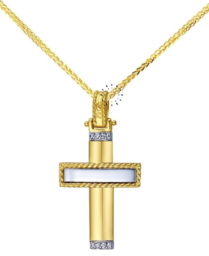 Σταυρός 14K Χρυσό και Λευκόχρυσο με Ζιργκόν της FaCaDoro  582€  http://www.kosmima.gr/product_info.php?products_id=12195