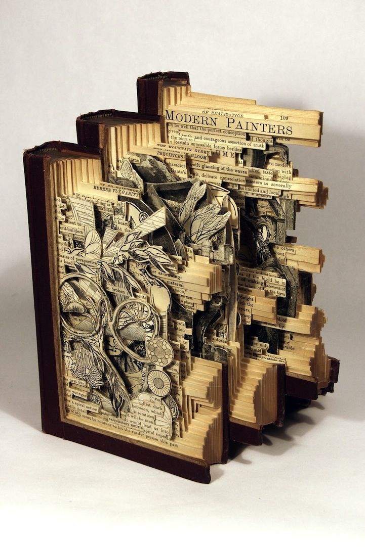 Insane art formed by carving books with surgical tools