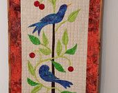 wall quilt with tropical birds